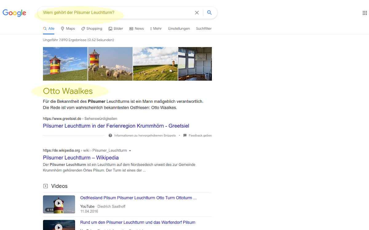 Auch Google kann sich mal irren: Der Pilsumer Leuchtturm gehört nicht Otto Waalkes